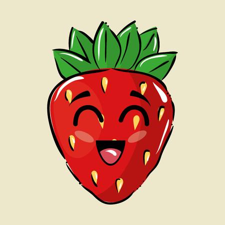 イチゴ果実コミック文字ベクトル イラスト デザイン