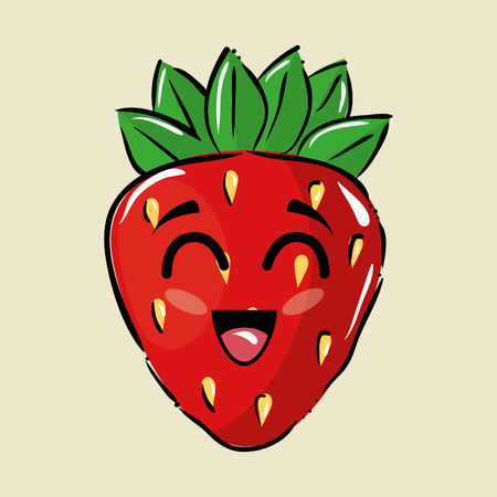strawberry fruit comic characters vector illustration design
