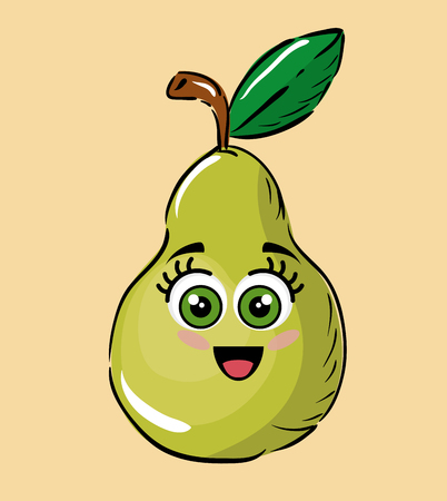 pear fruits comic characters vector illustration design Çizim