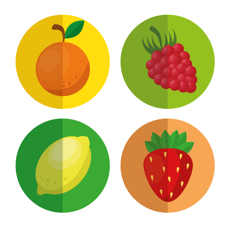 fresh and healthy fruits vector illustration design