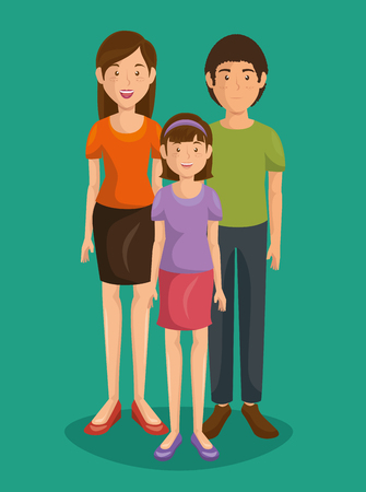 Couple of young parents with daughter vector illustration design