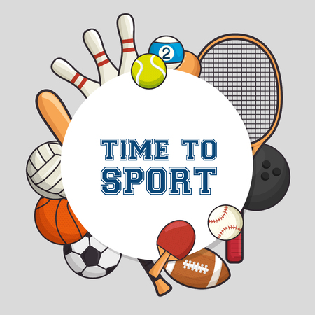 sports equipment flat icons vector illustration design
