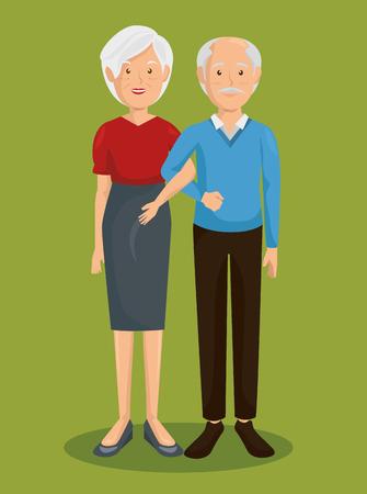 Couple of grand parents vector illustration design
