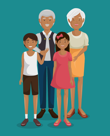 Couple of grand parents with granddaughter vector illustration design Illustration