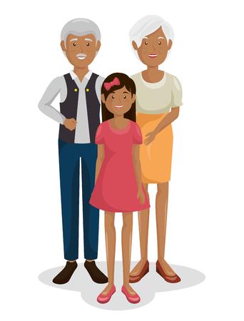 Couple de grands-parents avec la conception d'illustration vectorielle de petite-fille