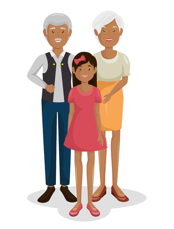 Couple of grand parents with granddaughter vector illustration design Ilustrace