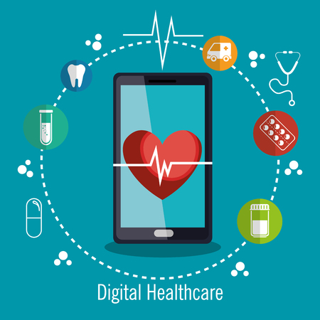 digital healthcare technology icon vector illustration design