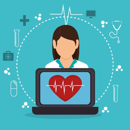 Digitale gezondheidszorg technologie pictogram vector illustratie ontwerp