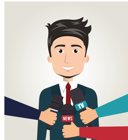 Interview person on news vector illustration design