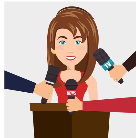 newsreader: news presenter avatar character vector illustration design