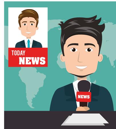 nieuws presentator avatar karakter vectorillustratieontwerp
