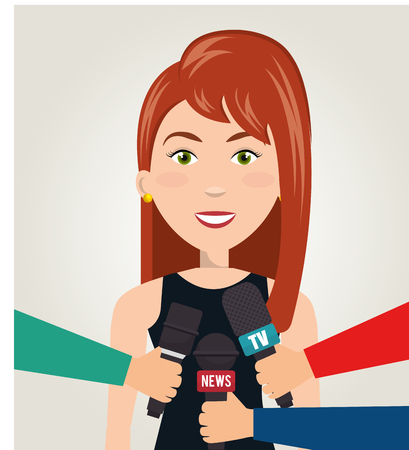 politicians: Interview person on news vector illustration design