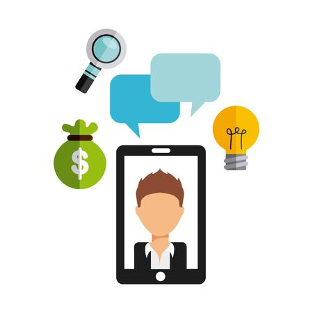 handphone: smartphone technology device electronic icon vector illustration design