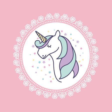 hand drawn cute unicorn icon vector illustration design Ilustrace