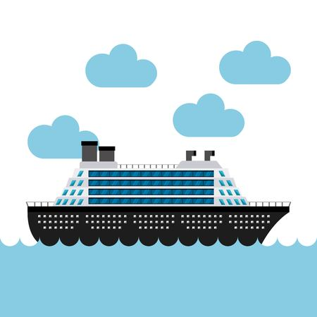 cruise boat in the sea vector illustration design