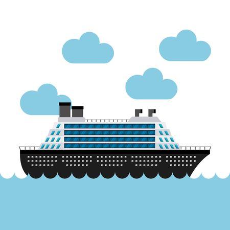 cruise boat in the sea vector illustration design