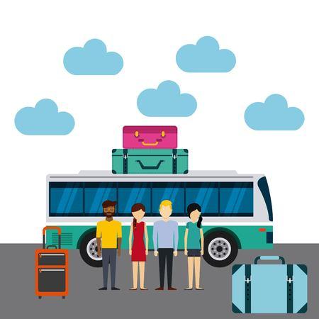 輸送ターミナル ベクトル イラスト デザインの人々 のグループ  イラスト・ベクター素材