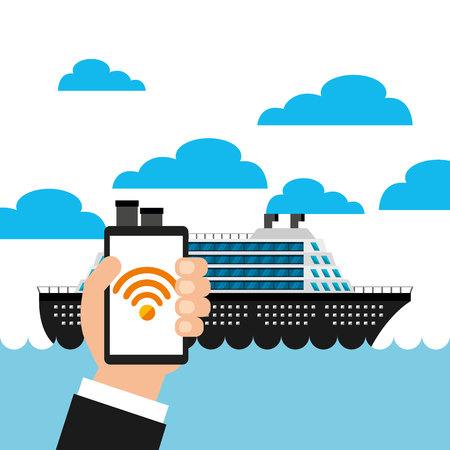 wifi service in transport terminal vector illustration design Çizim