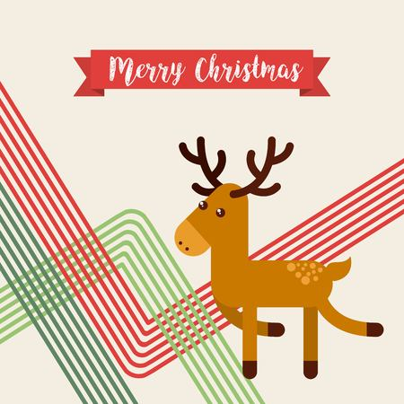 happy merry christmas reindeer character vector illustration design