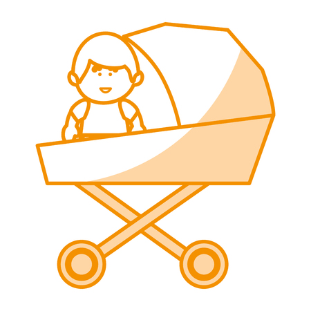 little baby in cart avatar character vector illustration design