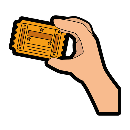 hand holding paper: Entrance ticket paper icon vector illustration graphic design