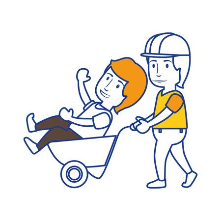 Workers having fun icon vector illustration graphic design