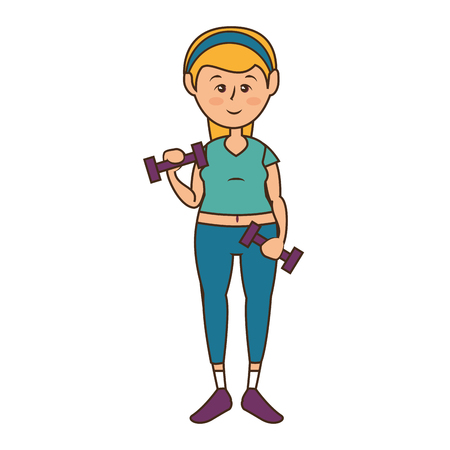 woman lifting dumbbells,  cartoon icon over white background. fitness lifestyle concept. colorful design. vector illustration