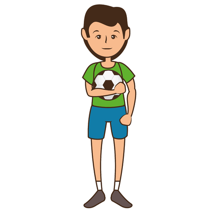 man holding a  soccer ball cartoon icon over white background. colorful design. vector illustration Illustration