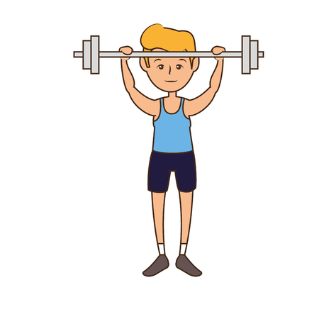 man, cartoon icon over white background. fitness lifestyle concept.  colorful design. vector illustration