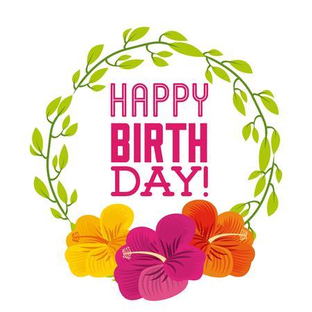 happy birthday celebration poster floral vector illustration design Imagens - 77376454