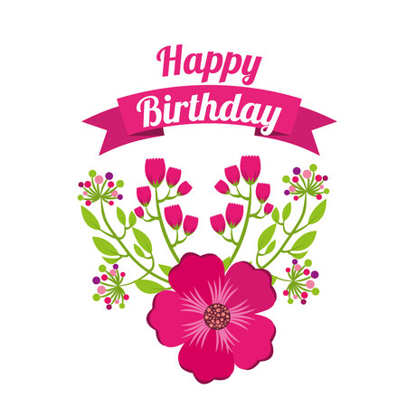 happy birthday celebration poster floral vector illustration design