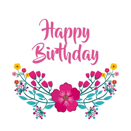 happy birthday celebration poster floral vector illustration design Imagens - 77376392