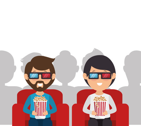 people with glasses 3d vector illustration design