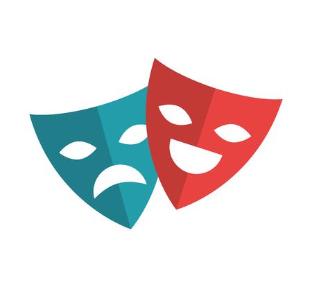 stage costume: theater masks festival cinema vector illustration design Illustration