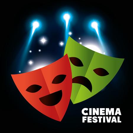 comedy show: Theater masks festival cinema vector illustration design