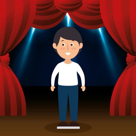 audition: Man avatar in theater vector illustration design