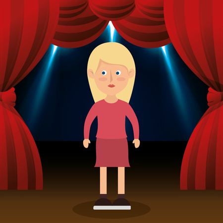 performing arts event: Woman avatar in theater vector illustration design
