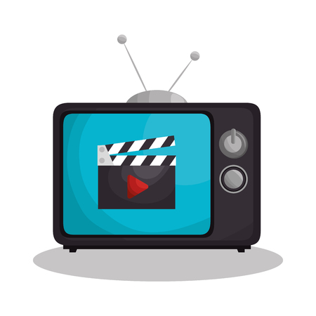 A retro tv with clapper isolated icon vector illustration design Reklamní fotografie - 77401720
