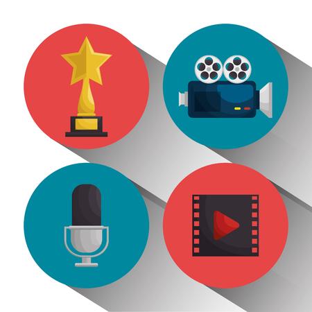 A cinema entertainment elements icons vector illustration design