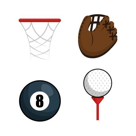 sports equipment flat icons vector illustration design