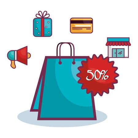 half price: commercial business flat icons vector illustration design Illustration