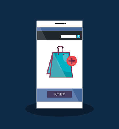 smartphone with ecommerce application vector illustration design