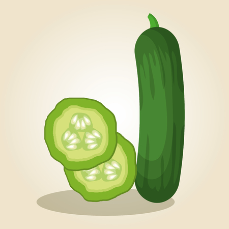 komkommer fris en gezond plantaardig vector illustratieontwerp