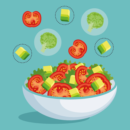 mediterranean diet: dish with fresh salad healthy food vector illustration design