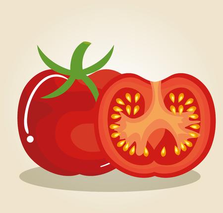ontwerp van de tomaat het verse en gezonde plantaardige vectorillustratie