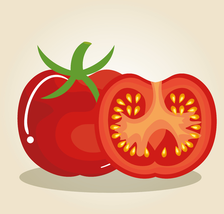 tomato fresh and healthy vegetable vector illustration design