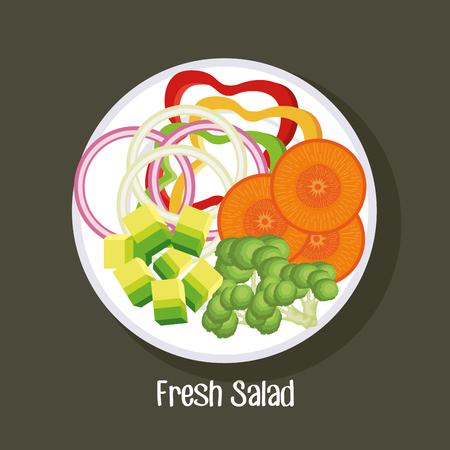 dish with fresh salad healthy food vector illustration design