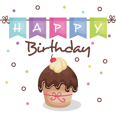 happy birthday card with cupcake vector illustration design