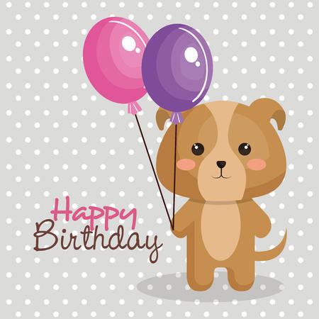 Tarjeta de feliz cumpleaños con tierna ilustración vectorial animal de diseño Foto de archivo - 77401868