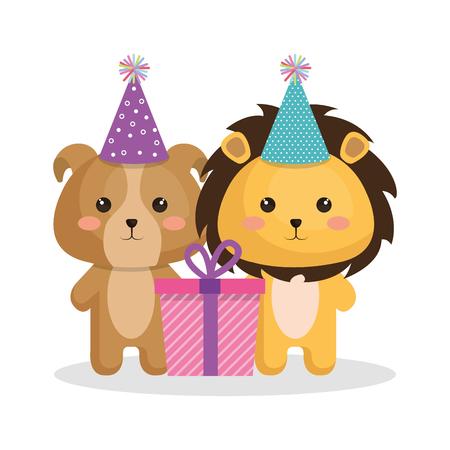 Tarjeta de feliz cumpleaños con tierna ilustración vectorial animal de diseño Foto de archivo - 77411880